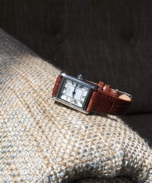 Square frame watch (brown)