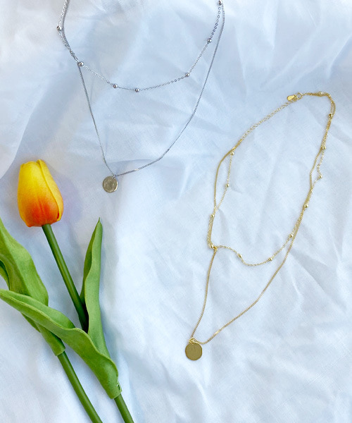 ball layered necklace (2coior)